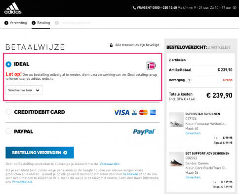Adidas payment options